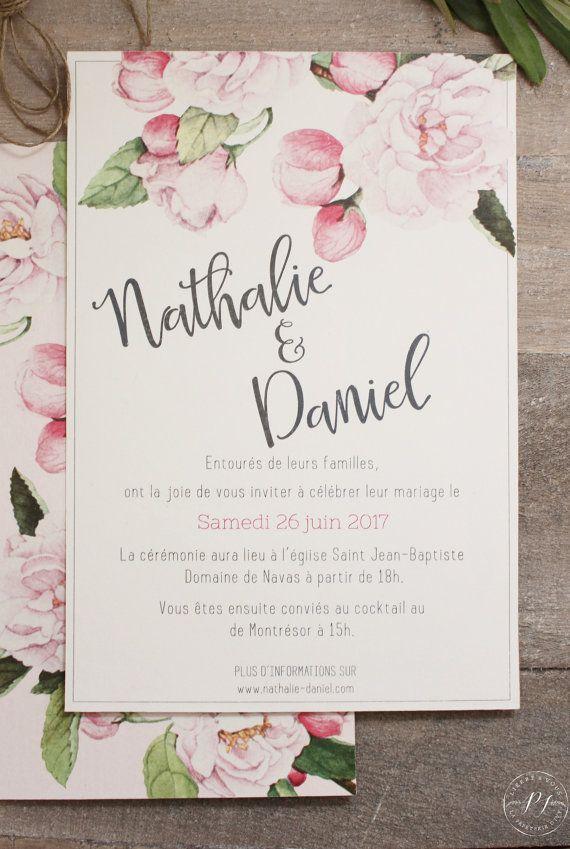 Faire Part Rsvp Papeterie De Mariage A Imprimer Pdf Fleurs