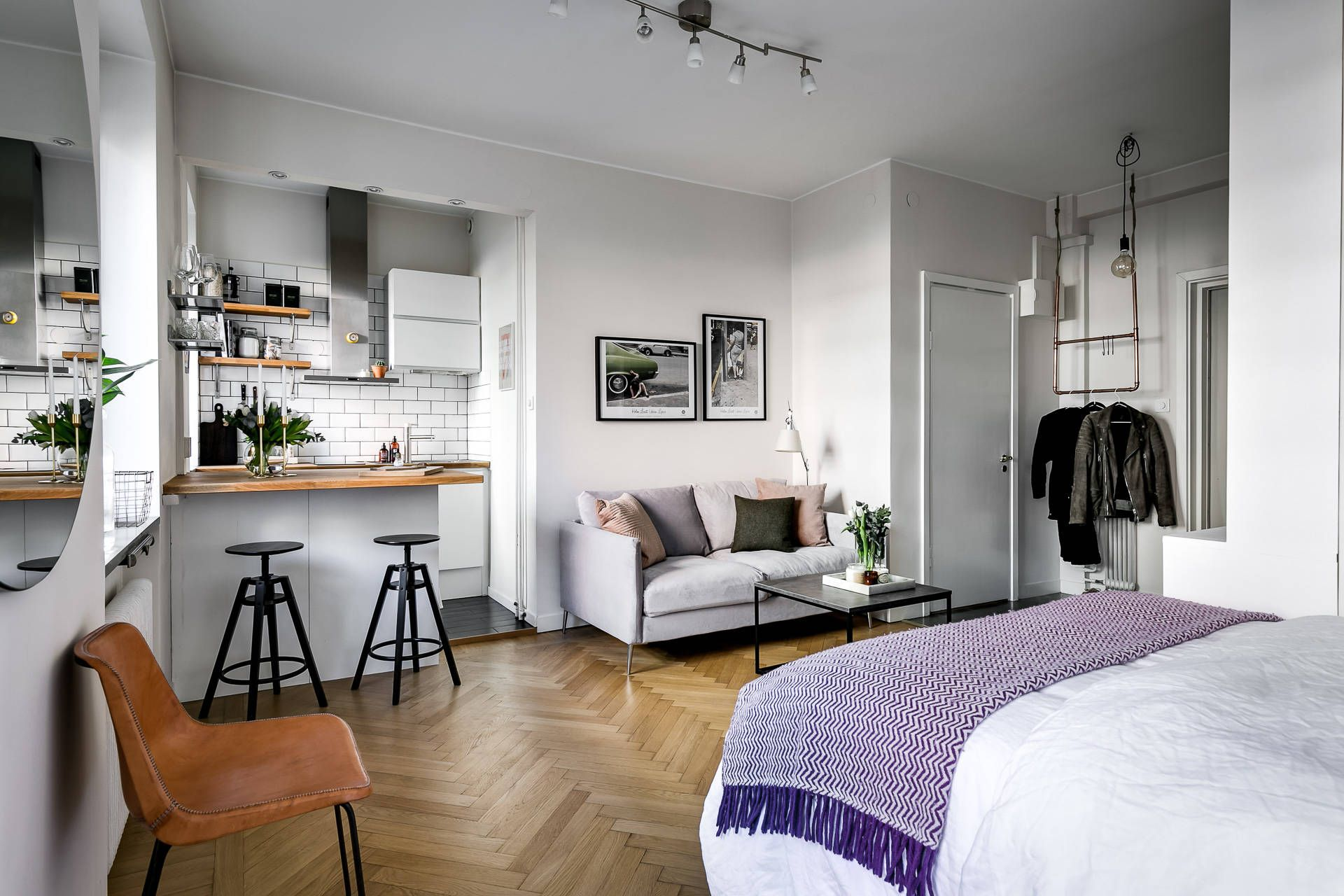 Cozy One Room Apartment In Perfect Style Apartment Bedroom Decor Apartment Interior Apartment Room
