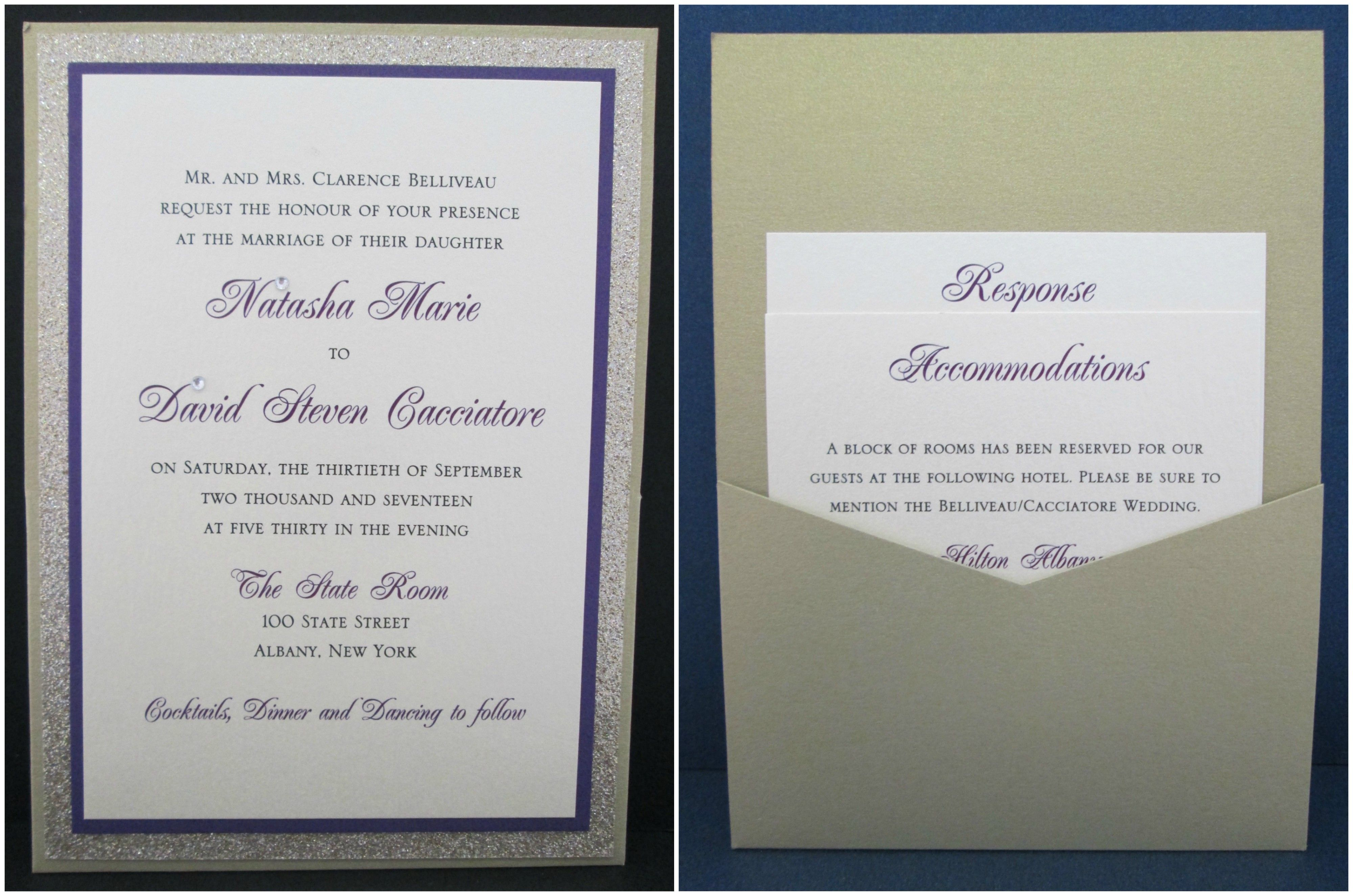 Gold Pocket Card with Glitter and Purple Accent