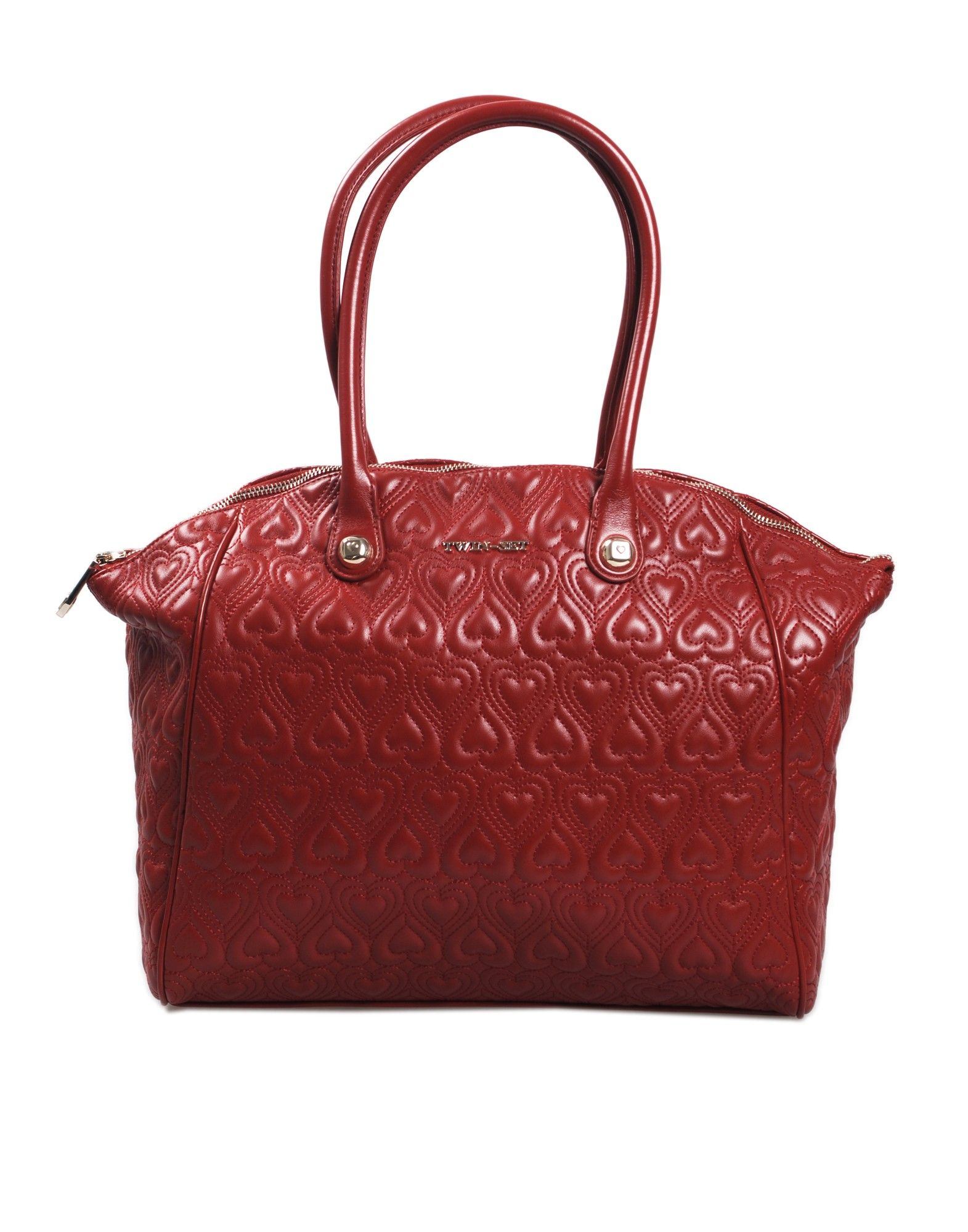 Borsa shopping TWIN SET by SIMONA BARBIERI in ecopelle colore rosso, chiusura a zip, interno foderato con logo e tasca a zip, manici.