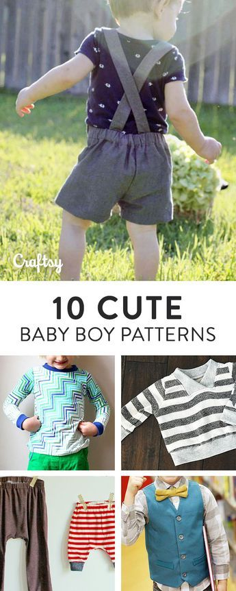 A Bundle of 10 Cute Baby Boy Sewing Patterns   Baby booties, Sewing ...