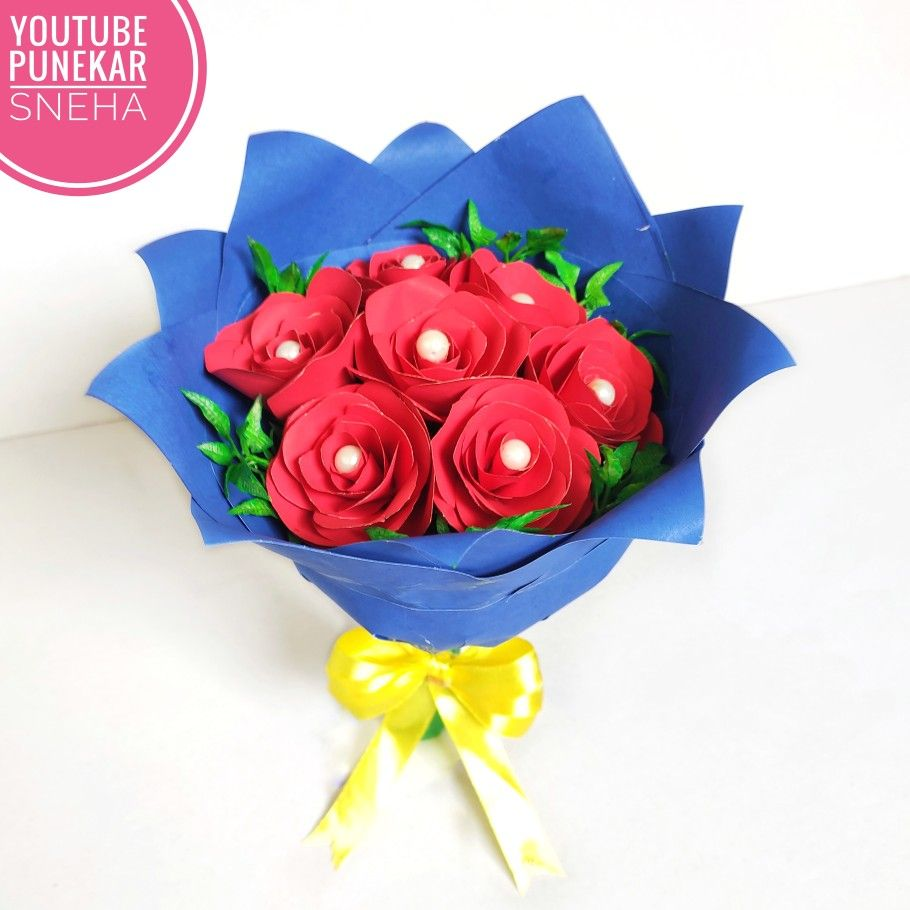 Paper Rose Paper Craft Rose Flower Bouquet Flower Bouquet