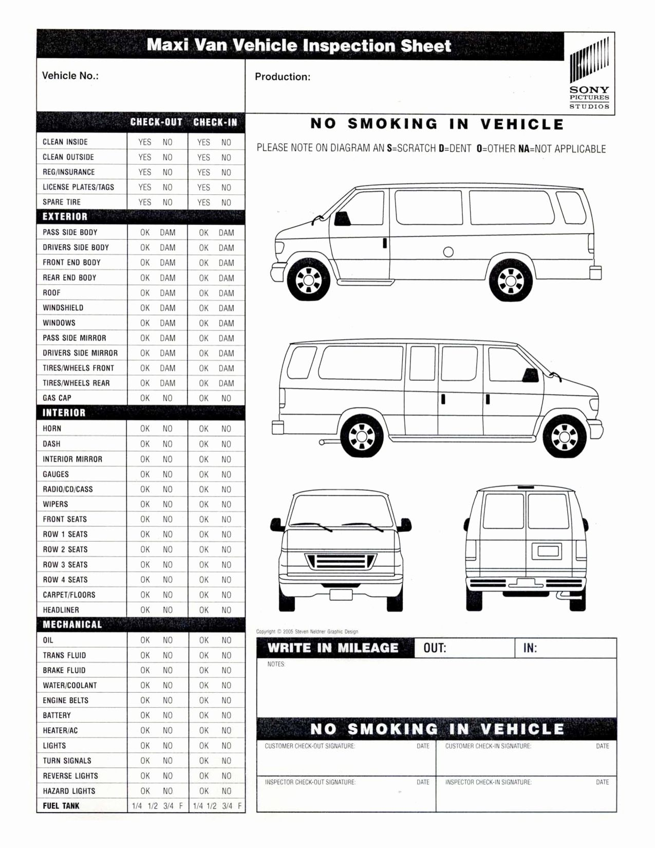 Vehicle Inspection form Template Lovely 9 Best Of Van ...