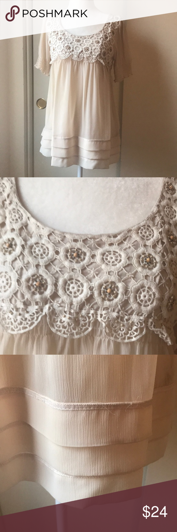 Eci New York Baby Doll Top Gorgeous Beaded And Crocheted