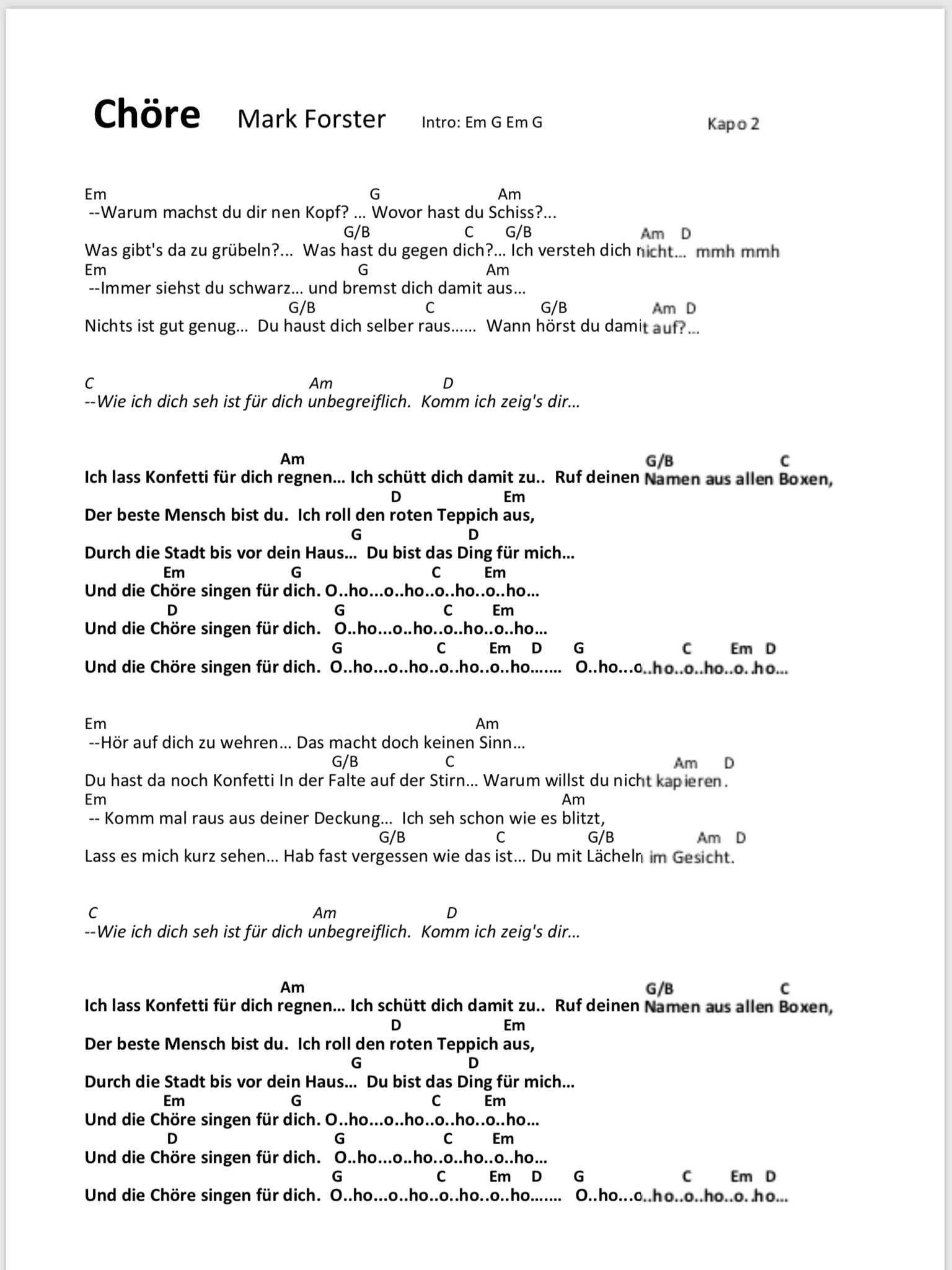 Chore Mark Forster Songtext Und Akkorde Gitarren Songs Ukulele Lieder Gitarre Lieder