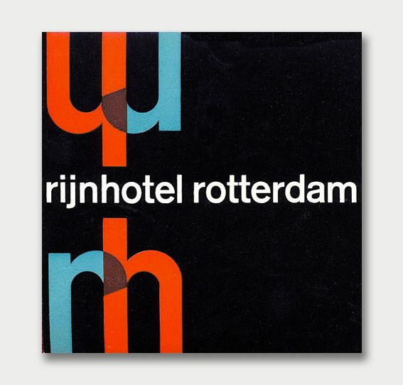 luggage label of the Rijnhotel in Rotterdam (1960s)