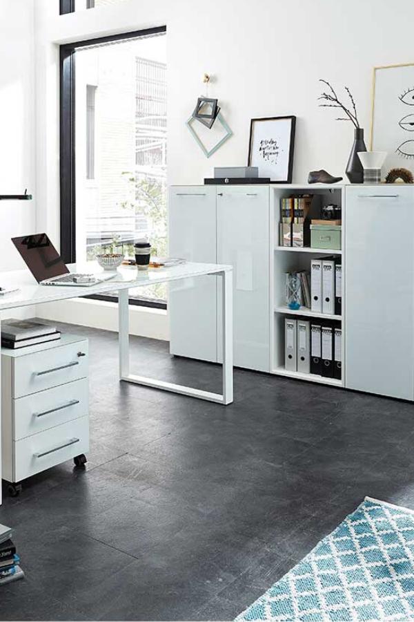 Arbeitszimmermobel Set Rameros In Weiss Mit Glas Beschichtet Arbeitszimmer Mobel Haus Home Office