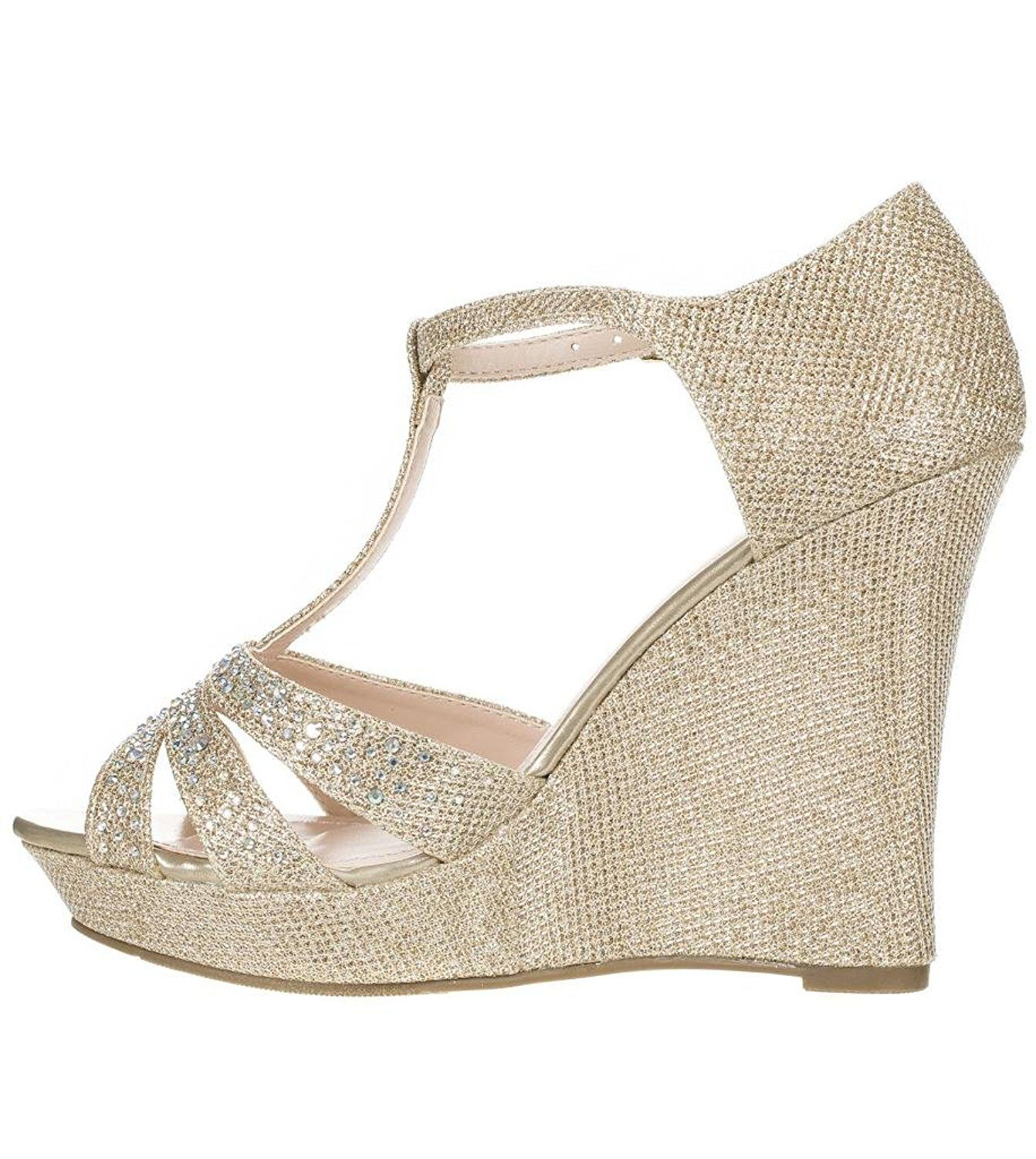 233d667e566 DeBlossom Womens Dressy Glitter Rhinestone T Strap Platform Wedge Sandal  Aalle-2     Click image for more details. (This is an affiliate link)   shoesday
