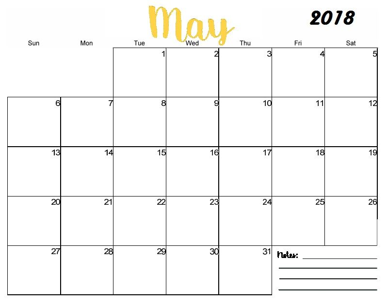 Free Printable Blank May Calendar 2018 With Images Free