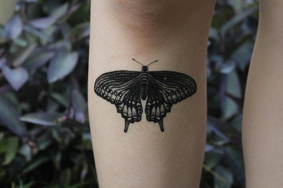 6d684c81b Black Swallowtail Butterfly Temporary Tattoo, Black Line Tattoo, Winged  Insect, Bug Tattoo, Symmetrical Tattoo by NatureTats