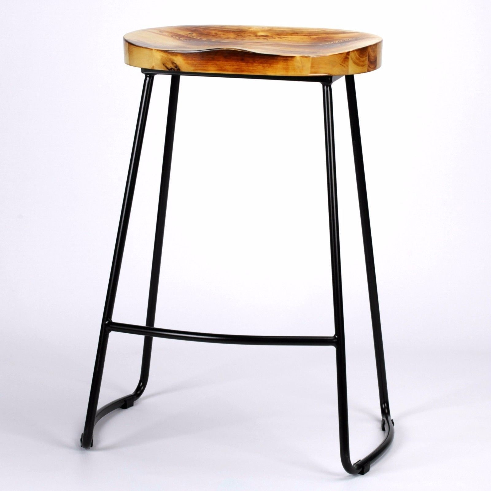Industrial Tractor Style Wooden Seat Metal Bar Stool Bar Stool