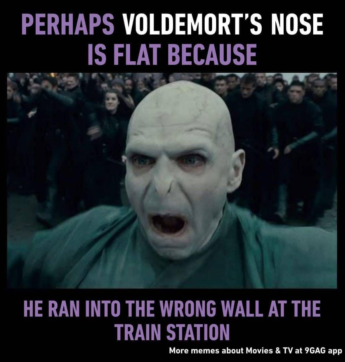 Lmao Voldemort Flat Nose Hit The Wrong Wall Haha Harry Potter Harry Potter Quotes Funny Voldemort Nose Voldemort