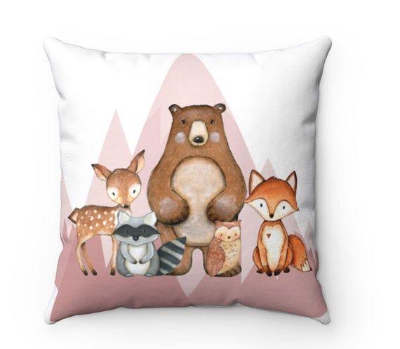 Woodland Throw Pillow Woodland Animals Pillow Woodland Nursery Decor Fox Nursery Decor Fox Room Deco