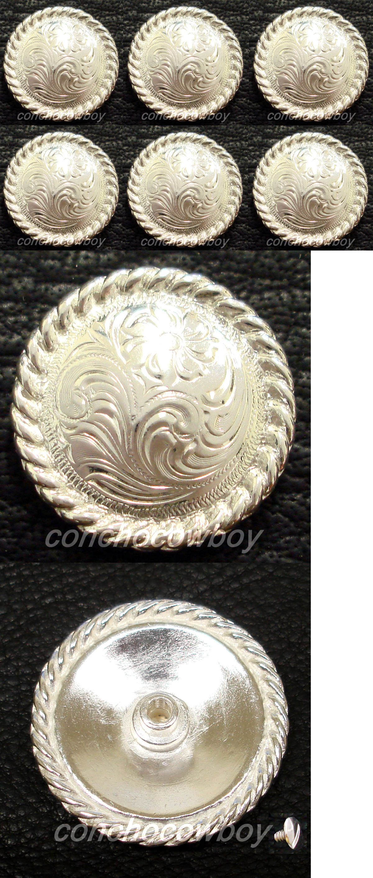 """Western Equestrian Tack Antique Silver Rope 1 1//2/"""" Concho"""