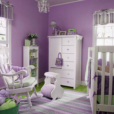 Baby girl room idea (purple and green) Baby rooms Pinterest