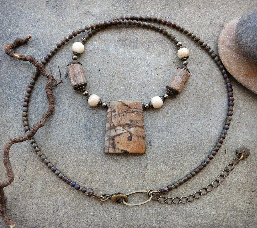 Picasso Jasper Pendant Necklace in peach and gray