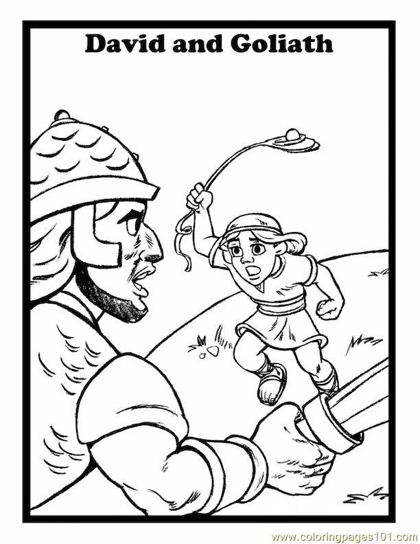001 David And Goliath 7 coloring page - Free Printable Coloring ...
