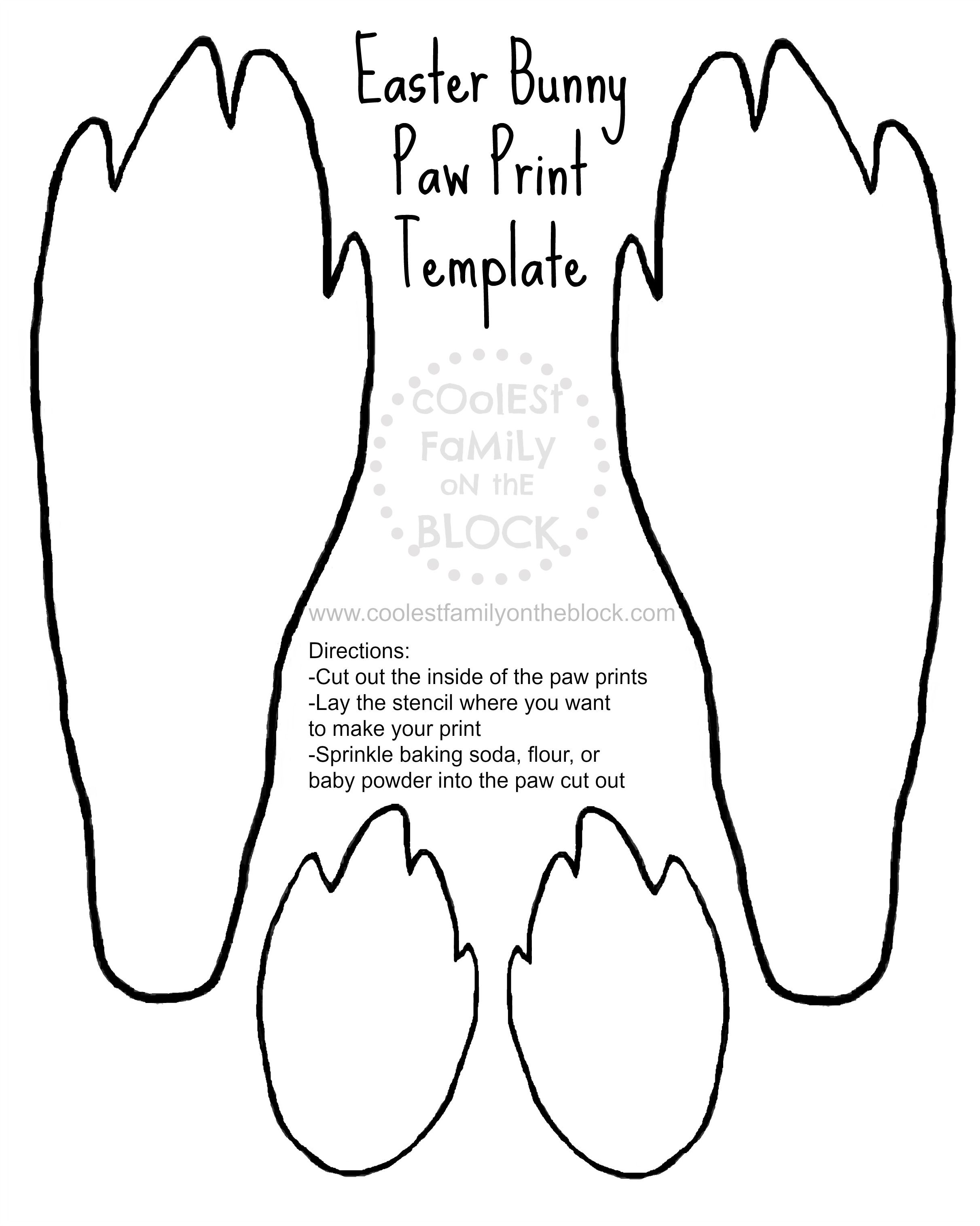 free printable easter bunny paw prints template front and back