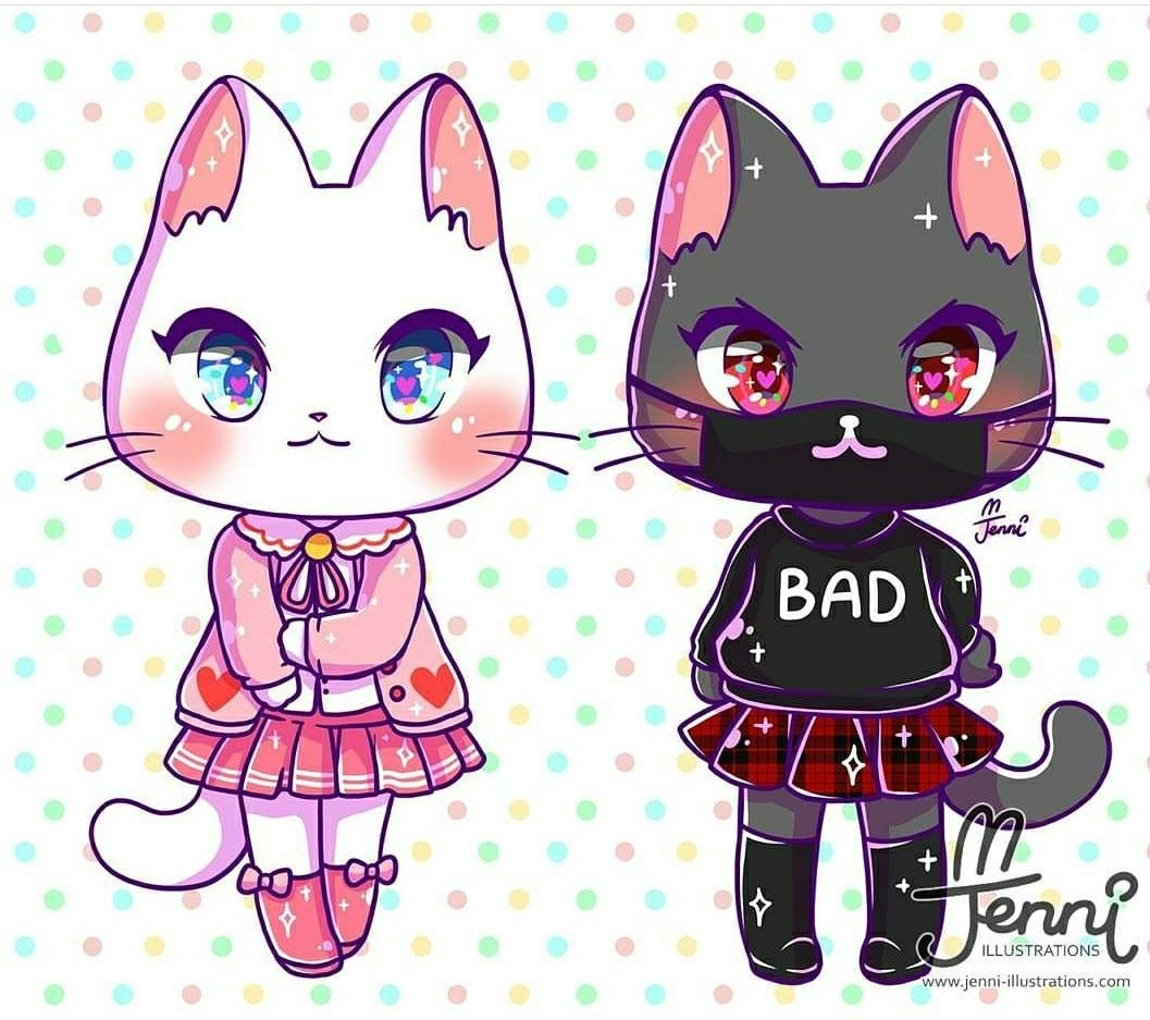 Cat fashion 2 i cats in 2019 cute animal - Anime cat wallpaper ...