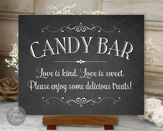 Candy Bar Sign Chalkboard Printable Wedding by PrintablePixels