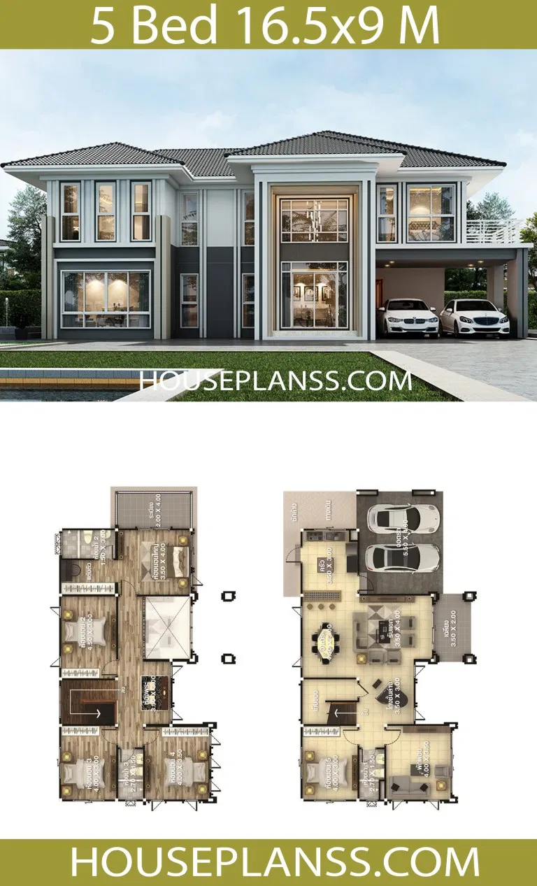 House Design Plans 16 5x9 With 5 Bedrooms Home Ideas House Design Plans 16 5 9 With 5 Bedroo In 2020 Beautiful House Plans Two Story House Design Model House Plan