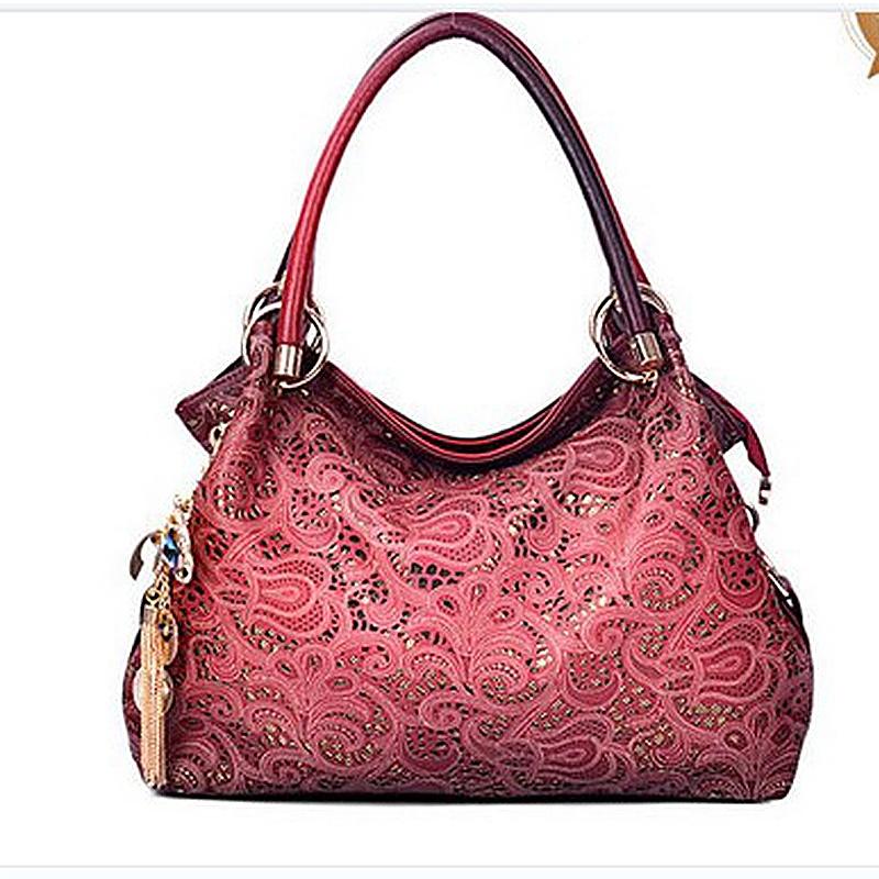 d6243046e7e 2017 Famous Brand Female Shoulder bag Hollow Out Handbag Lace Floral Print  Crossbody bag ladies PU Leather Tote Bag 4 COLORS