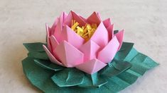 Photo of Origami Lotus: Easy paper flower with leaf tutorial (step by step) | Priti Sharma,  #Easy #fl…