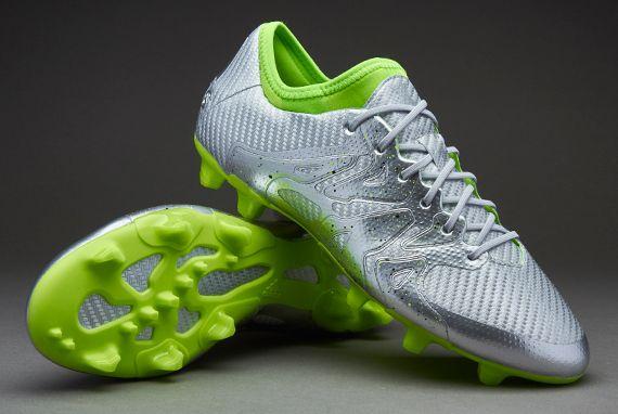 adidas X 15.1 FG Eskolaite - Mens Boots - Firm Ground - Silver Metallic/ Solar Green/Core Black