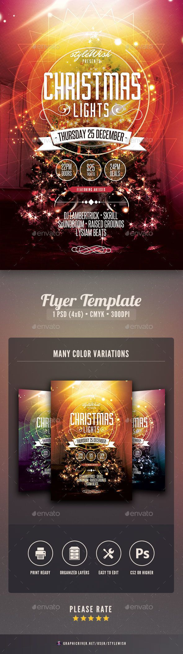 Christmas Lights Flyer Templatethis Flyer Template Is Designed To