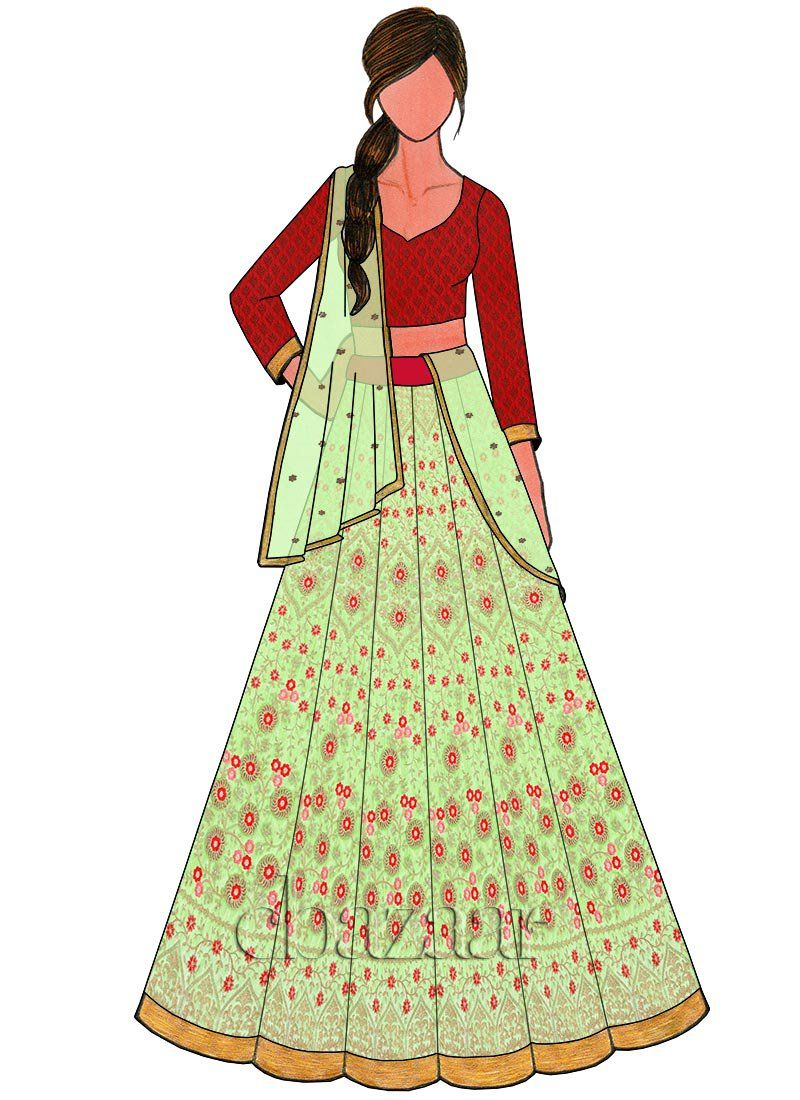 Light green embroidered art silk kali lehenga set art sketches