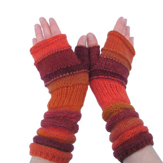 Autumn Fashion accessories Orange knit fingerless gloves ...