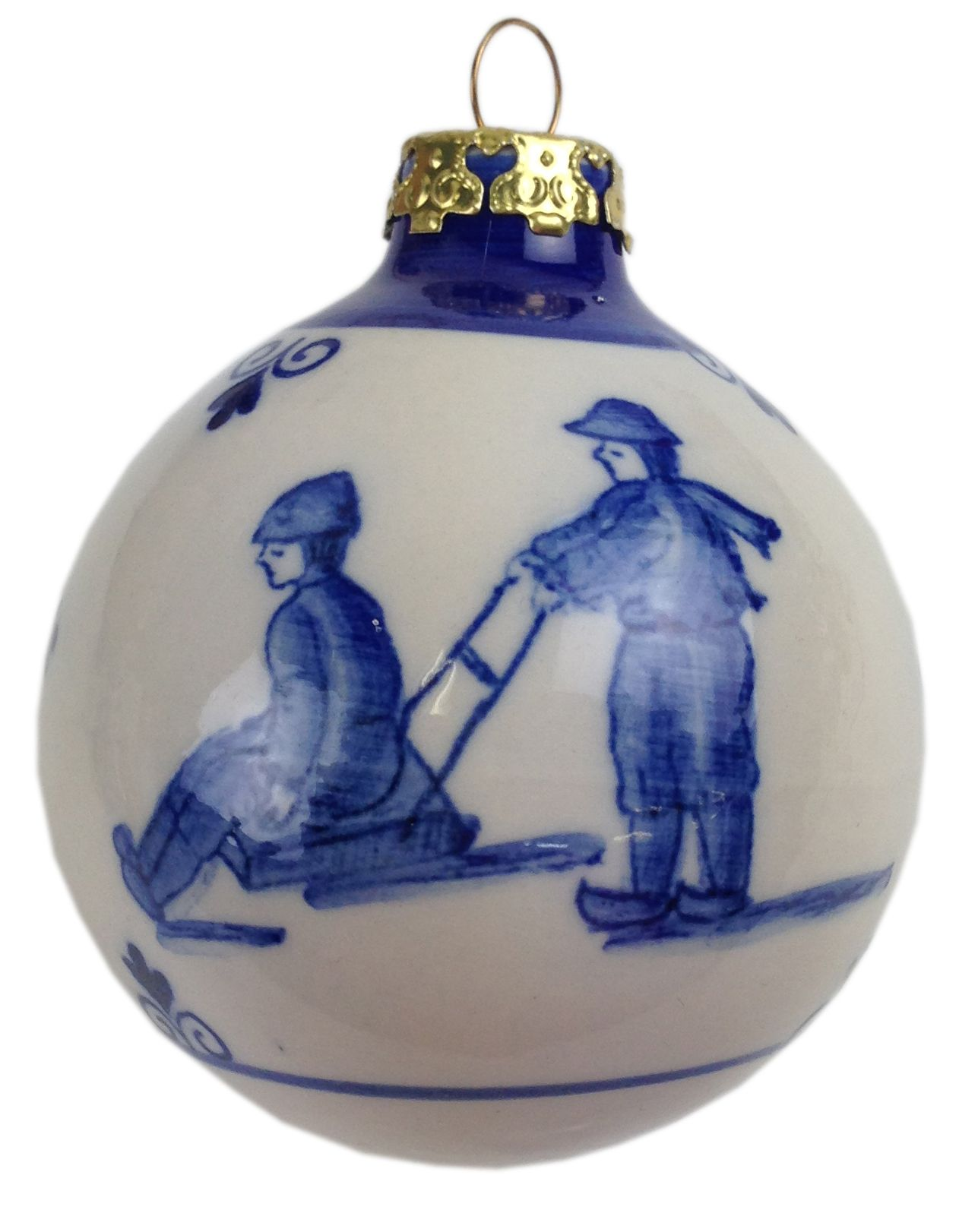 Delft blue christmas bauble - man and woman on sled