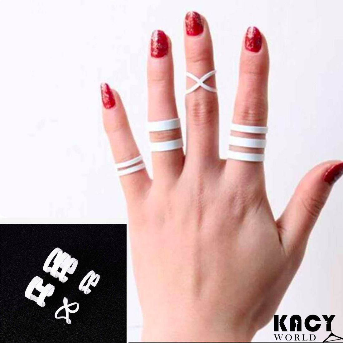 White Ring set of 4 | Ring and Shopping