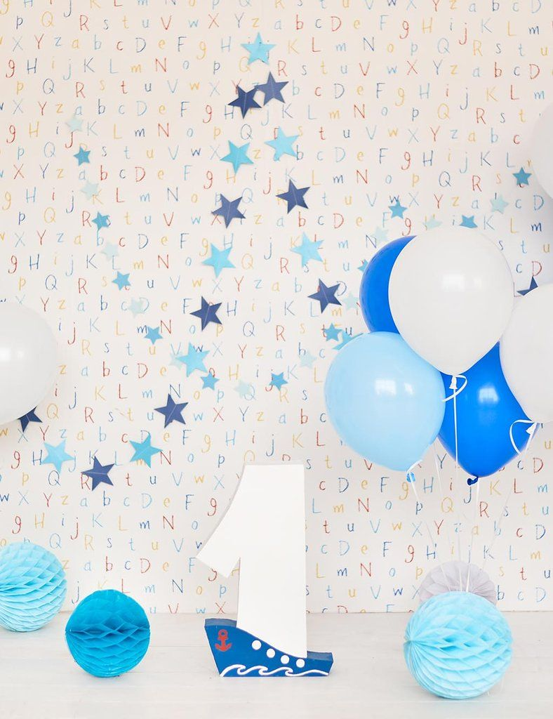 Colorful Balloons And Paper Wall For Baby Birthday Backdrop Baby