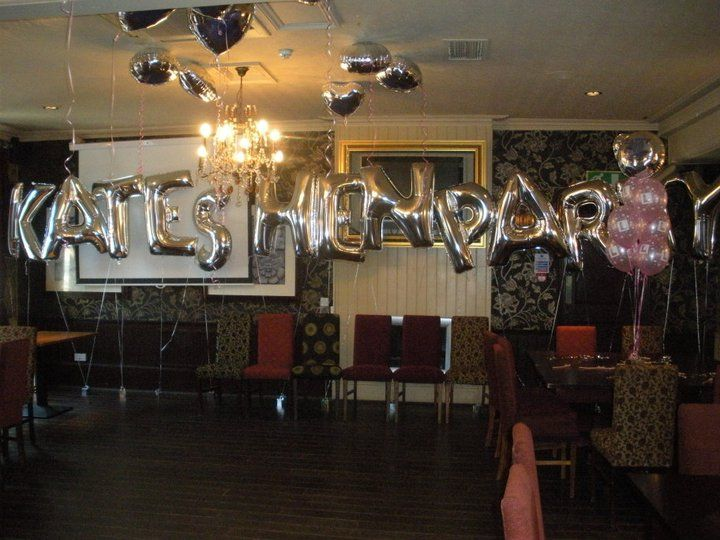silver letter balloons used to spell out kates hen party