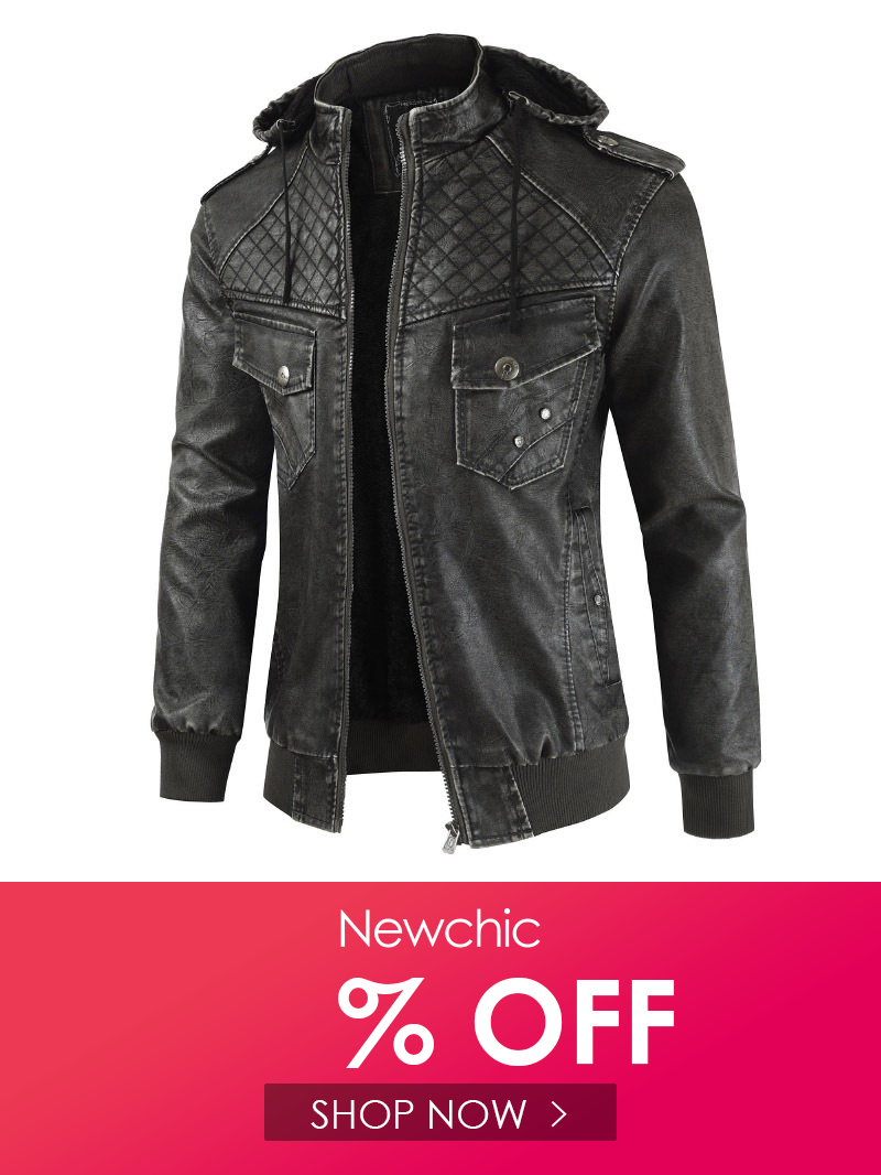 Men\'s Hooded Leather Slim Jacket Jackets, Leather