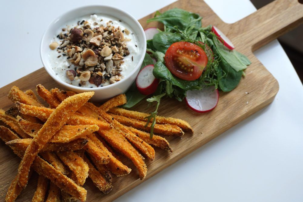 Crispy sweet potato fries with creamy feta & dukkah dip | Gingerberry Tales