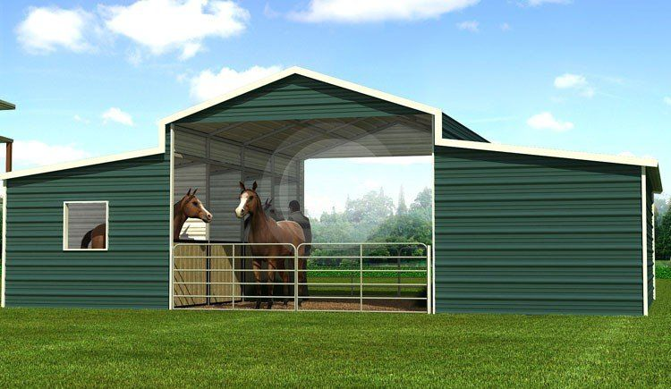 36x21 Raised Center Barn GREEN BARNS Horse barns