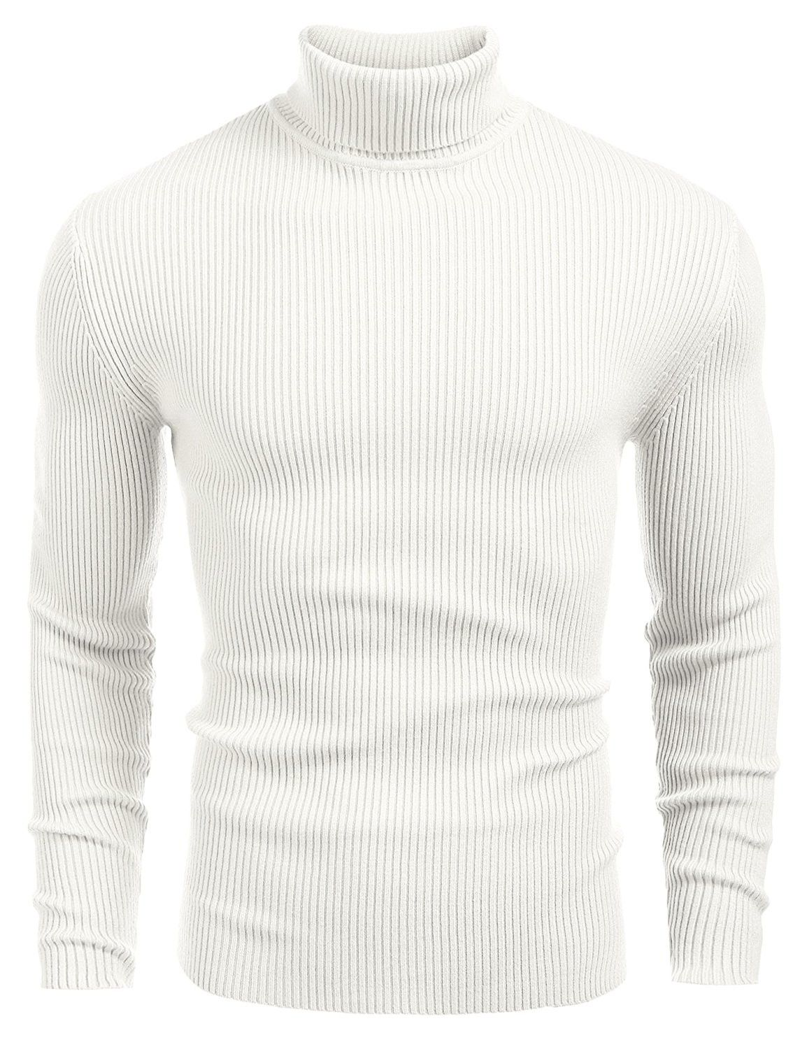 3bd0055d8 Mens Ribbed Slim Fit Knitted Pullover Turtleneck Sweater - White ...