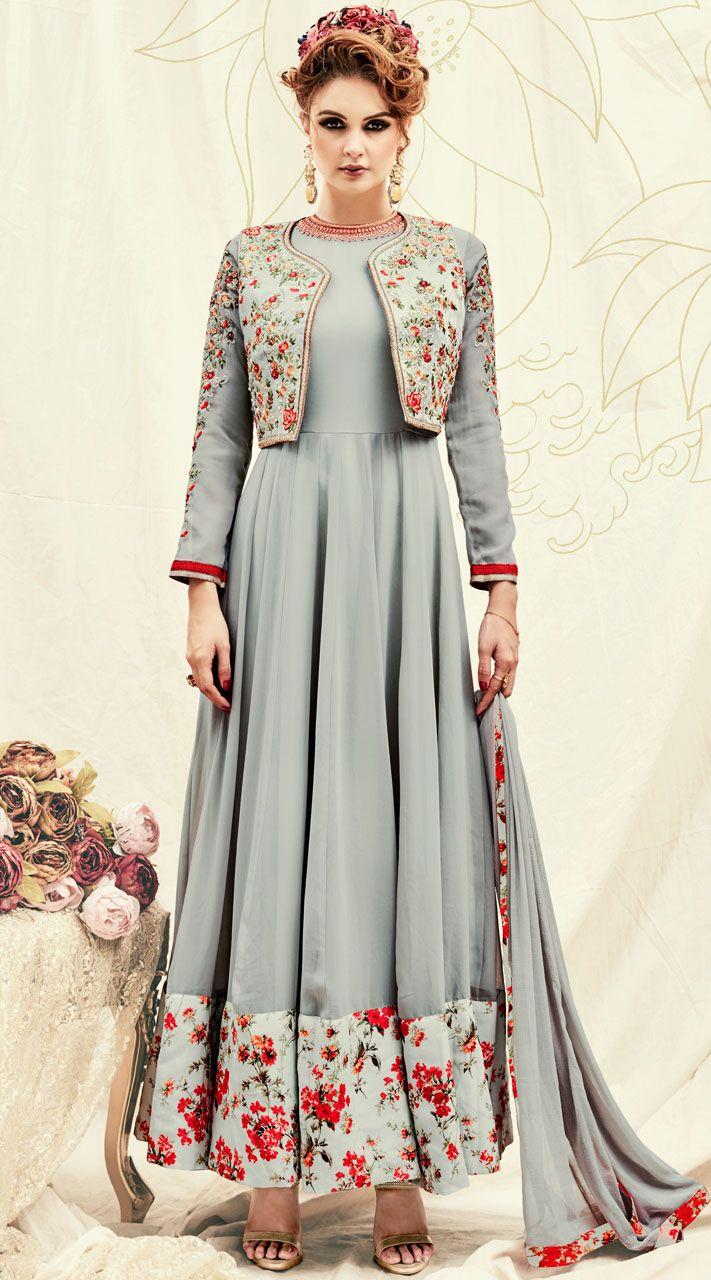 Floral Print Broad Border Grey Anarkali Suit With Short Koti Koti