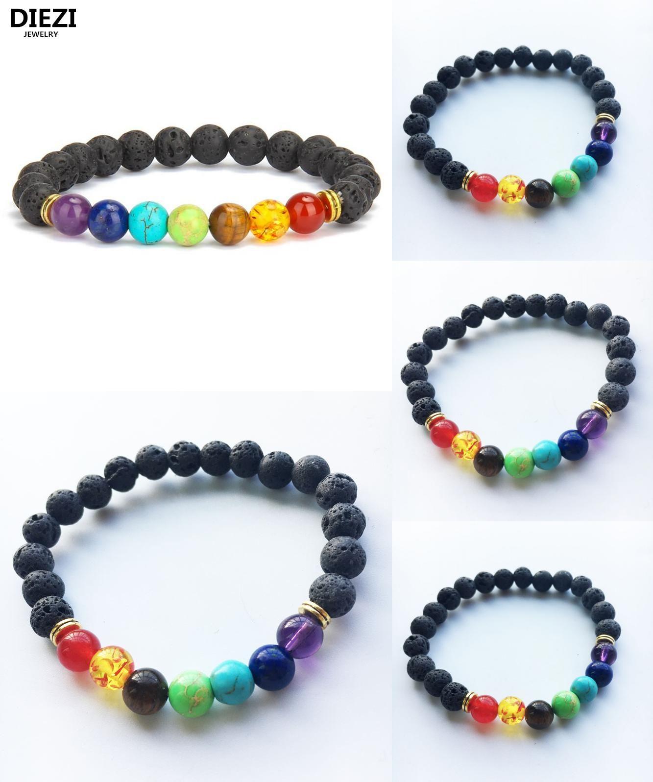 Visit to buy diezi fashion muticolor bracelets lava chakra beads