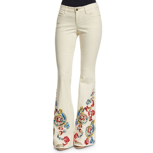 Alice   Olivia Ryley Low-Rise Embroidered Flare Jeans ($530 ...