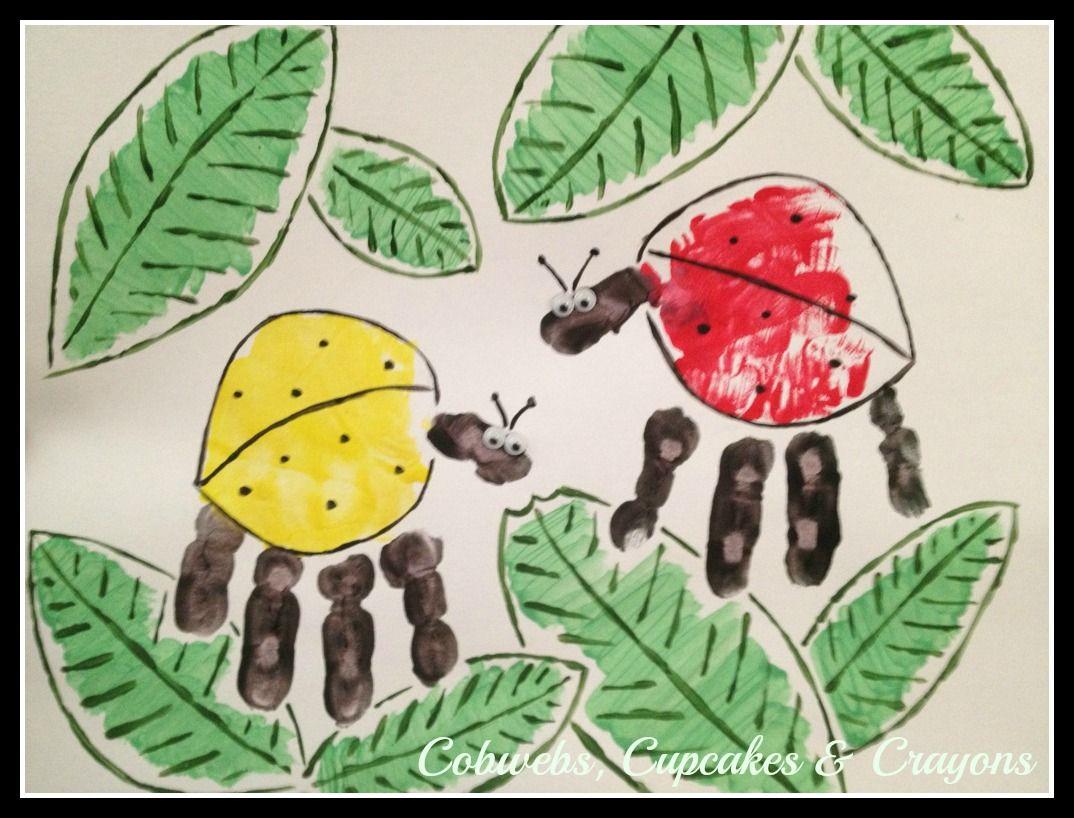 Bug handimals handprint footprint crafts pinterest for Bugs arts and crafts