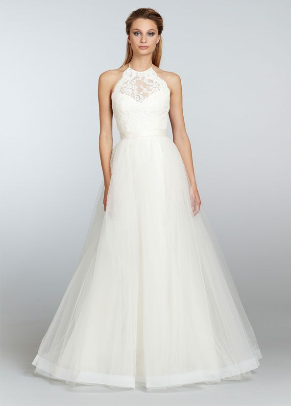 Ivory Mikado Organza Trumpet Bridal Gown With Full Tulle Overlay Lace Halter Bodice Over Sweetheart