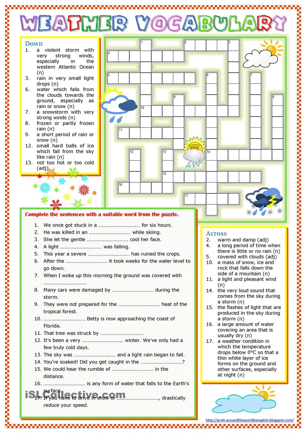 Free Worksheet Hurricane Worksheets days of the week french worksheet this site has lots free a to revise some weather vocabulary blizzard hurricane drought etc it contains crossword puzzle and gap fill exerc