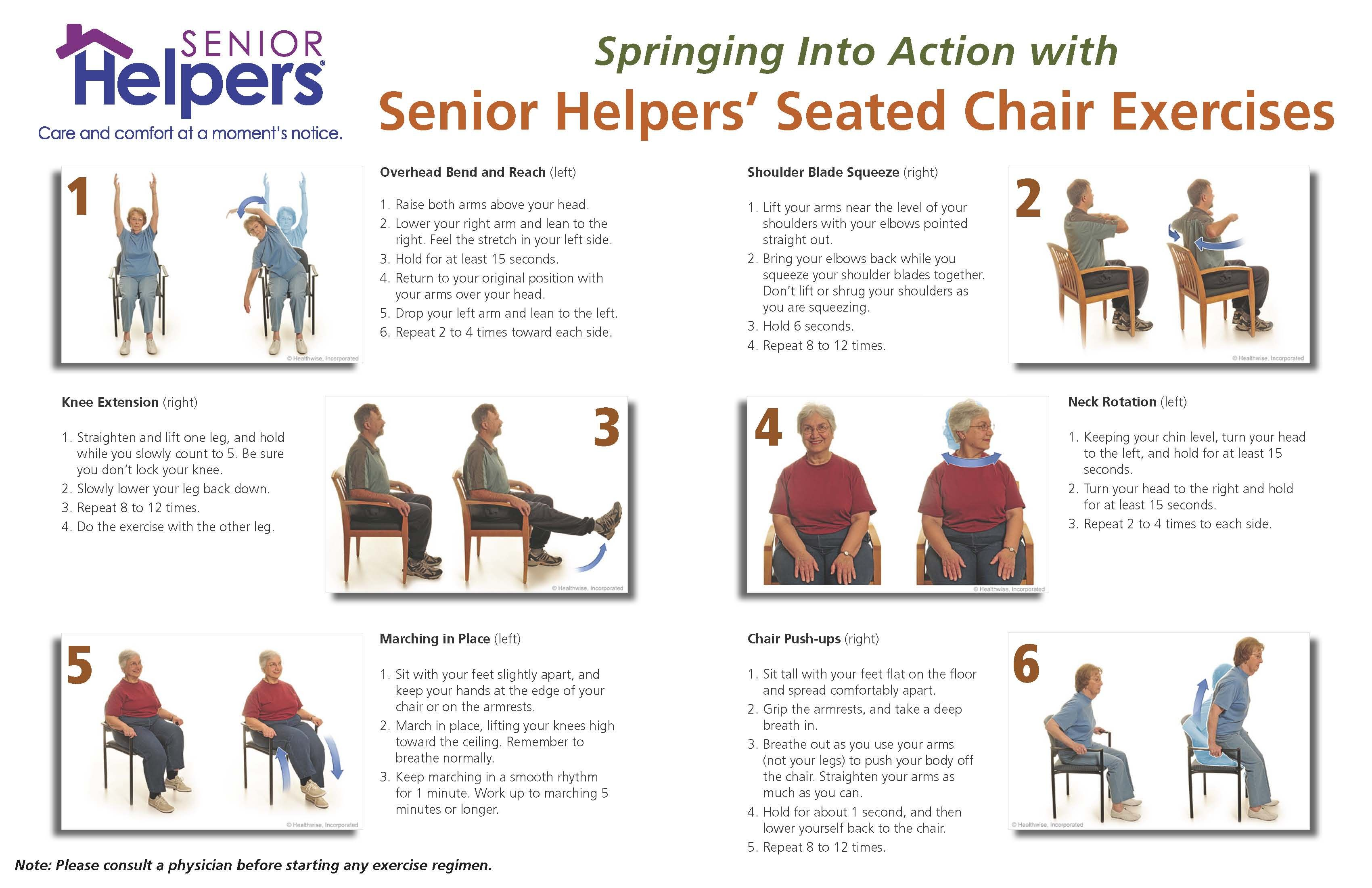 Spring Into Action With Seated Chair Excercises Senior Helpers Senior Fitness Chair Exercises