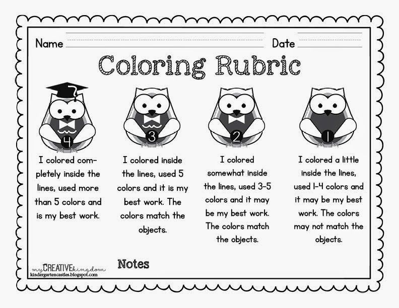 Line Drawing Rubric : Kindergarten rubrics free coloring rubric