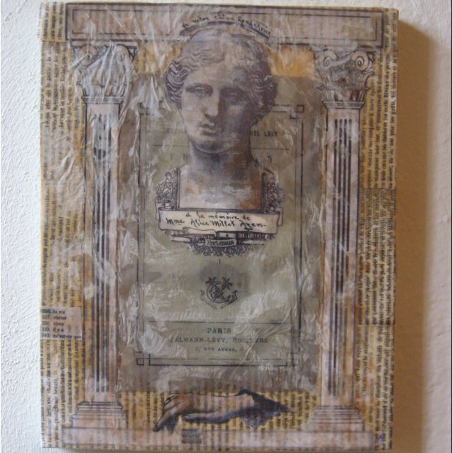 Memento Mori Vintage ephemera , paint and wax on canvas. $60