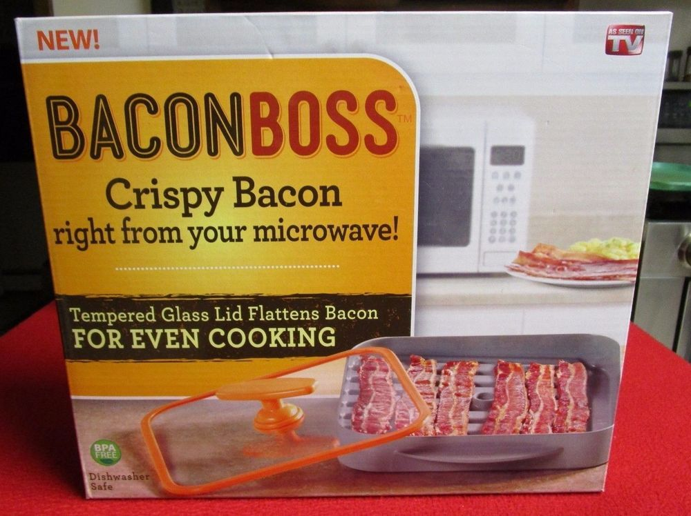 Bacon Boss Microwave Drip Pan Baconboss Cooking Cooker Press Lid As Seen On Tv