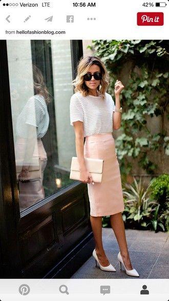 skirt pencil skirt pink skirt business casual blouse